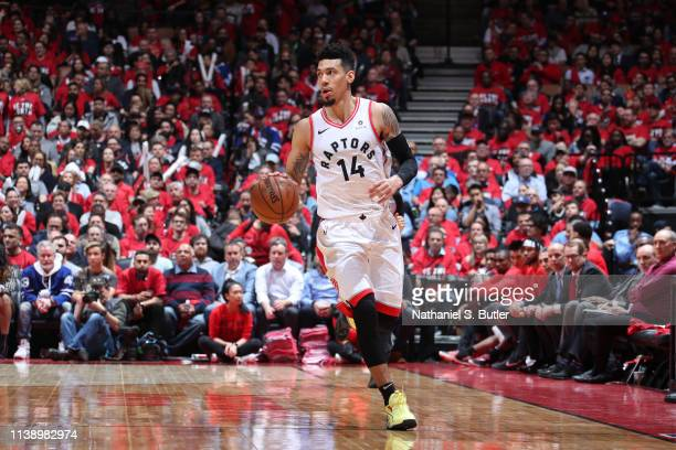 Danny Green of the Toronto Raptors handles the ball against the Orlando Magic during Game Five of Round One of the 2019 NBA Playoffs on April 23 2019...