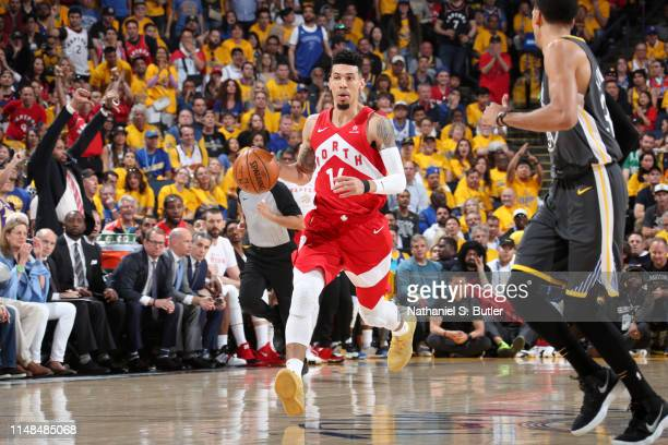 Danny Green of the Toronto Raptors handles the ball against the Golden State Warriors during Game Four of the NBA Finals on June 7 2019 at ORACLE...
