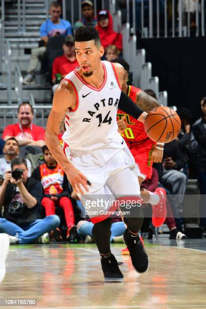 Danny Green of the Toronto Raptors handles the ball during the game against the Atlanta Hawks on November 21 2018 at the State Farm Arena in Atlanta...