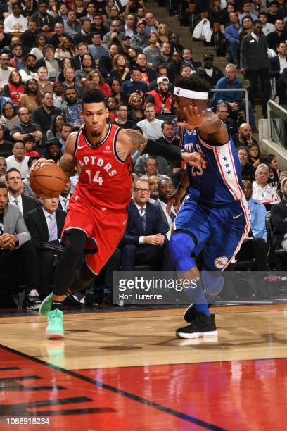 Danny Green of the Toronto Raptors handles the ball during the game against Jimmy Butler of the Philadelphia 76ers on December 5 2018 at the...