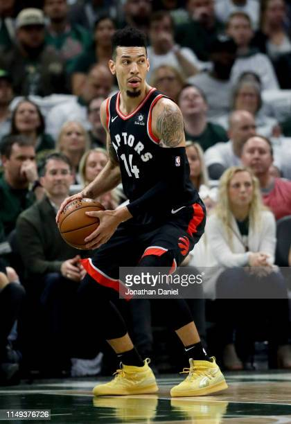 Danny Green of the Toronto Raptors handles the ball in the first quarter against the Milwaukee Bucks in Game One of the Eastern Conference Finals of...