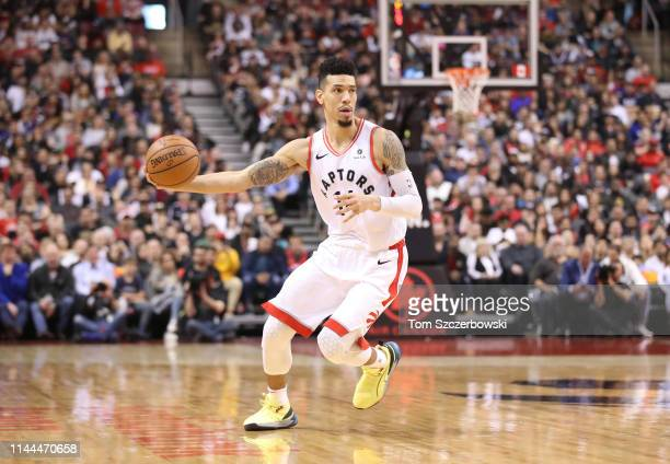 Danny Green of the Toronto Raptors holds on to the ball against the Miami Heat at Scotiabank Arena on April 7 2019 in Toronto Canada NOTE TO USER...