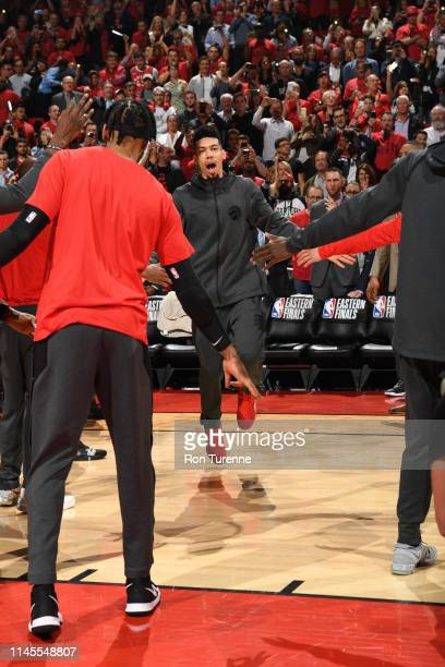Danny Green of the Toronto Raptors is introduced against the Milwaukee Bucks during Game Four of the Eastern Conference Finals on May 21 2019 at the...