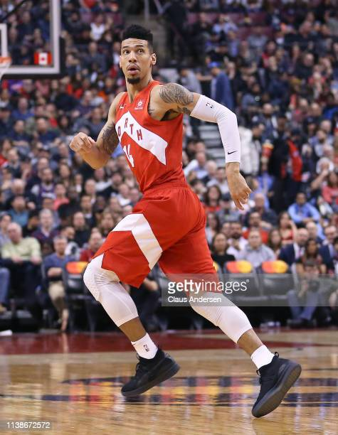 Danny Green of the Toronto Raptors keeps an eye on a lead pass against the Chicago Bulls during an NBA game at Scotiabank Arena on March 26 2019 in...