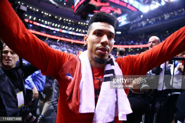 Danny Green of the Toronto Raptors leaves the court after the Raptors win Game Seven of the second round of the 2019 NBA Playoffs against the...