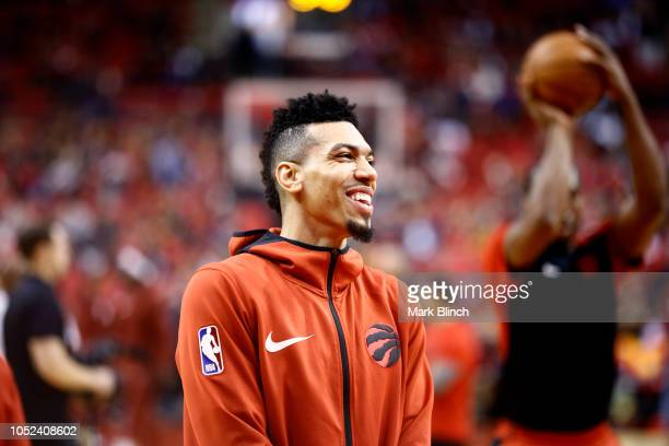 Danny Green of the Toronto Raptors looks on before the game against the Cleveland Cavaliers on October 17 2018 at Scotiabank Arena in Toronto Ontario...