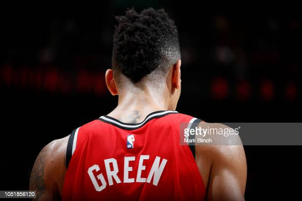 Danny Green of the Toronto Raptors looks on during a preseason game against the Brooklyn Nets on October 10 2018 at Bell Centre in Montreal Canada...