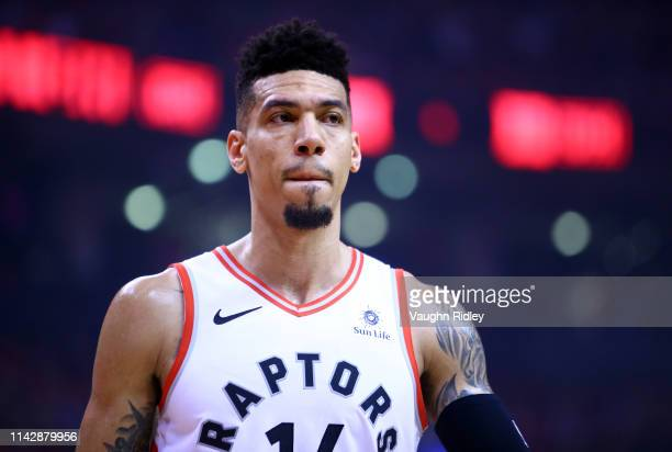 Danny Green of the Toronto Raptors looks on during Game One of the first round of the 2019 NBA playoffs against the Orlando Magic at Scotiabank Arena...