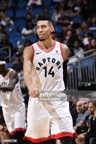 Danny Green of the Toronto Raptors looks on during the game against the Orlando Magic on November 20 2018 at Amway Center in Orlando Florida NOTE TO...