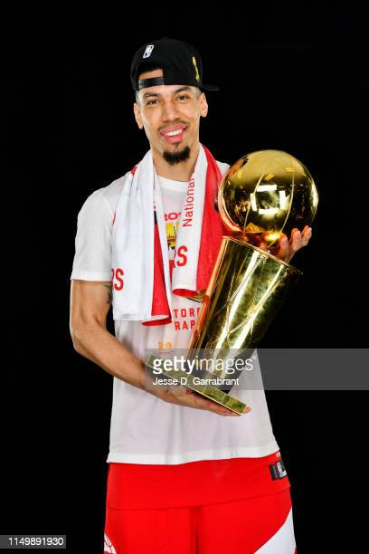 Danny Green of the Toronto Raptors poses for a portrait with the Larry O'Brien Trophy after winning Game Six of the 2019 NBA Finals against the...