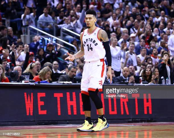 Danny Green of the Toronto Raptors reacts after sinking a 3 pointer during Game Five of the second round of the 2019 NBA Playoffs against the...