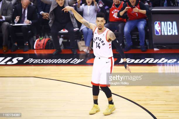 Danny Green of the Toronto Raptors reacts against the Golden State Warriors in the first quarter during Game One of the 2019 NBA Finals at Scotiabank...