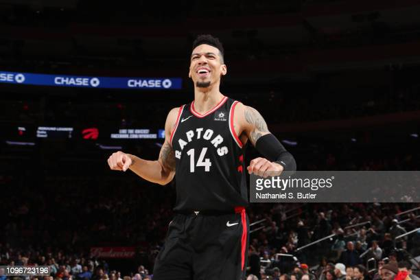 Danny Green of the Toronto Raptors reacts against the New York Knicks on February 9 2019 at Madison Square Garden in New York City New York NOTE TO...