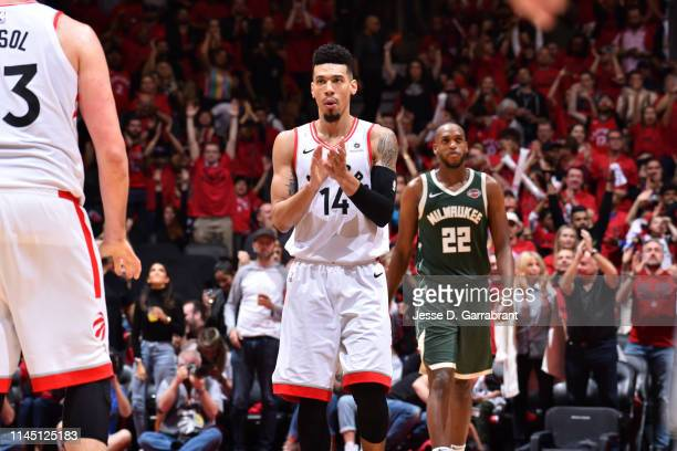 Danny Green of the Toronto Raptors reacts during a game against the Milwaukee Bucks during Game Three of the Eastern Conference Finals of the 2019...
