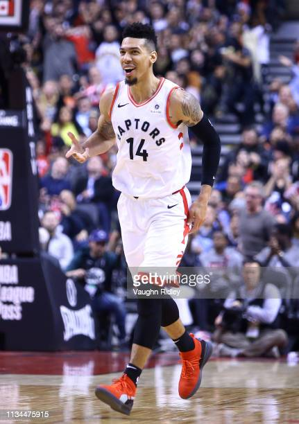 Danny Green of the Toronto Raptors reacts during the second half of an NBA game against the Houston Rockets at Scotiabank Arena on March 5 2019 in...