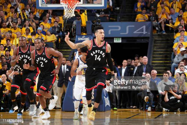 Danny Green of the Toronto Raptors reacts to a play during Game Three of the NBA Finals against the Golden State Warriors on June 5 2019 at ORACLE...