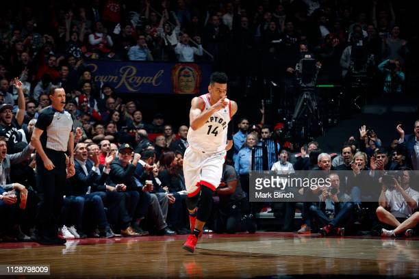 Danny Green of the Toronto Raptors reacts to a play during the game against the Houston Rockets on March 5 2019 at Scotiabank Arena in Toronto...