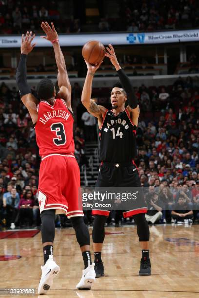 Danny Green of the Toronto Raptors shoots the ball against the Chicago Bulls on March 30 2019 at the United Center in Chicago Illinois NOTE TO USER...