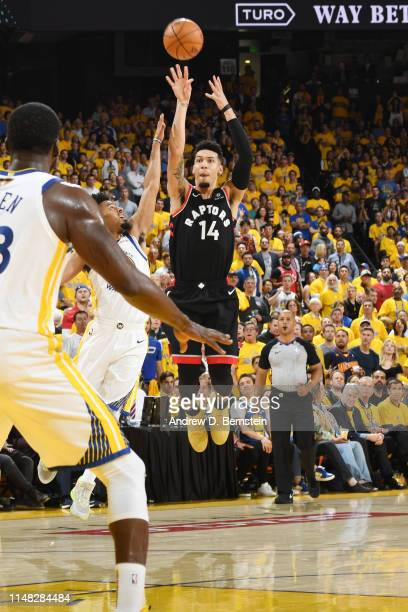 Danny Green of the Toronto Raptors shoots the ball against the Golden State Warriors during Game Three of the NBA Finals on June 5 2019 at ORACLE...