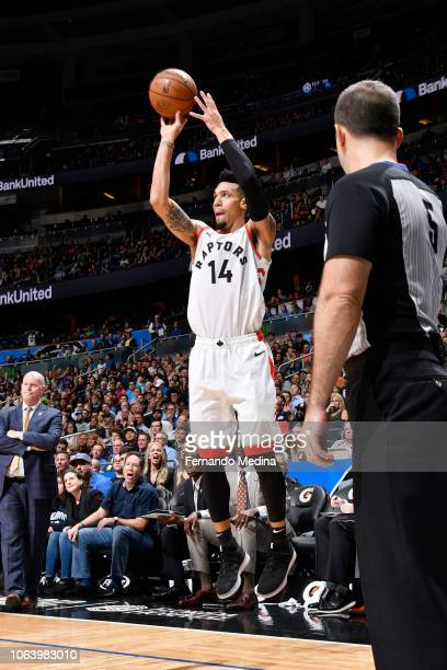 Danny Green of the Toronto Raptors shoots the ball against the Orlando Magic on November 20 2018 at Amway Center in Orlando Florida NOTE TO USER User...