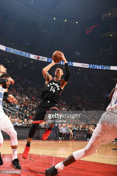 Danny Green of the Toronto Raptors shoots the ball against the Orlando Magic on April 1 2019 at the Scotiabank Arena in Toronto Ontario Canada NOTE...