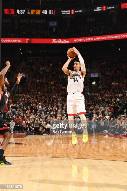 Danny Green of the Toronto Raptors shoots the ball against the Miami Heat on April 7 2019 at the Scotiabank Arena in Toronto Ontario Canada NOTE TO...