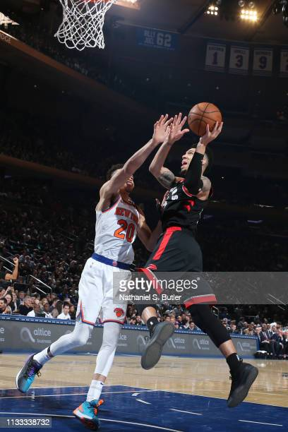 Danny Green of the Toronto Raptors shoots the ball against the New York Knicks on March 28 2019 at Madison Square Garden in New York City New York...