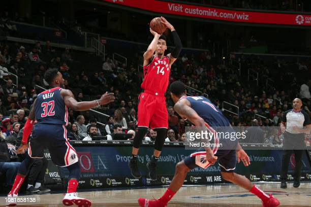 Danny Green of the Toronto Raptors shoots the ball against the Washington Wizards on January 13 2019 at Capital One Arena in Washington DC NOTE TO...