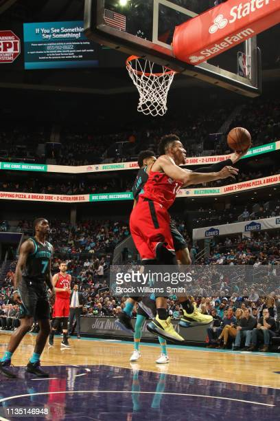 Danny Green of the Toronto Raptors shoots the ball against the Charlotte Hornets on April 5 2019 at Spectrum Center in Charlotte North Carolina NOTE...