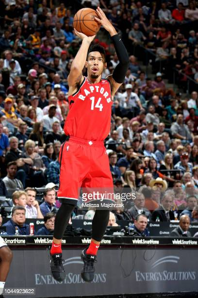 Danny Green of the Toronto Raptors shoots the ball against the Utah Jazz during a preseason game on October 2 2018 at Vivint Smart Home Arenaa in...