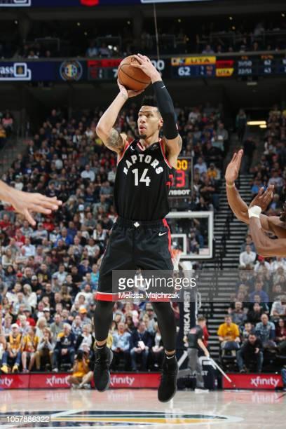 Danny Green of the Toronto Raptors shoots the ball against the Utah Jazz on November 5 2018 at vivintSmartHome Arena in Salt Lake City Utah NOTE TO...