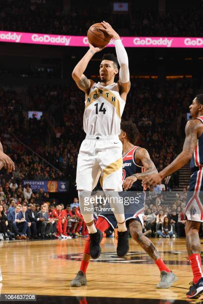 Danny Green of the Toronto Raptors shoots the ball during the game against the Washington Wizards on November 23 2018 at the Scotiabank Arena in...
