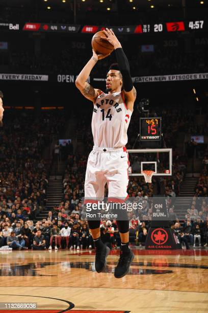 Danny Green of the Toronto Raptors shoots the ball during the game against the Charlotte Hornets on March 24 2019 at the Scotiabank Arena in Toronto...
