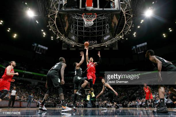 Danny Green of the Toronto Raptors shoots the ball during the game against the Minnesota Timberwolves on April 9 2019 at Target Center in Minneapolis...