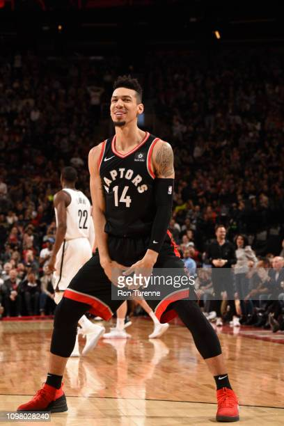 Danny Green of the Toronto Raptors smiles during the game against the Brooklyn Nets on February 11 2019 at the Scotiabank Arena in Toronto Ontario...