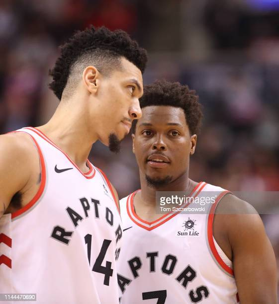 Danny Green of the Toronto Raptors talks to Kyle Lowry against the Miami Heat at Scotiabank Arena on April 7 2019 in Toronto Canada NOTE TO USER User...