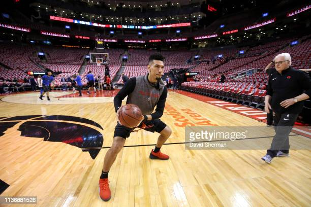 Danny Green of the Toronto Raptors warms up before Game One of Round One of the 2019 NBA Playoffs on April 13 2019 at the Scotiabank Arena in Toronto...