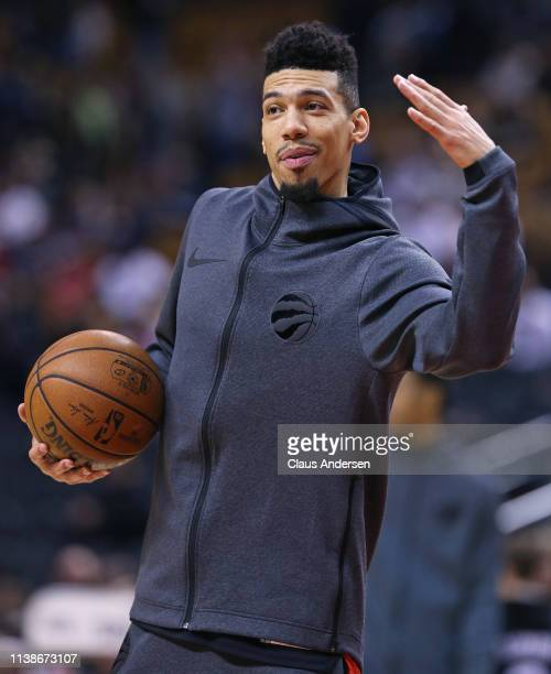 Danny Green of the Toronto Raptors warms up prior to action against the Chicago Bulls in an NBA game at Scotiabank Arena on March 26 2019 in Toronto...