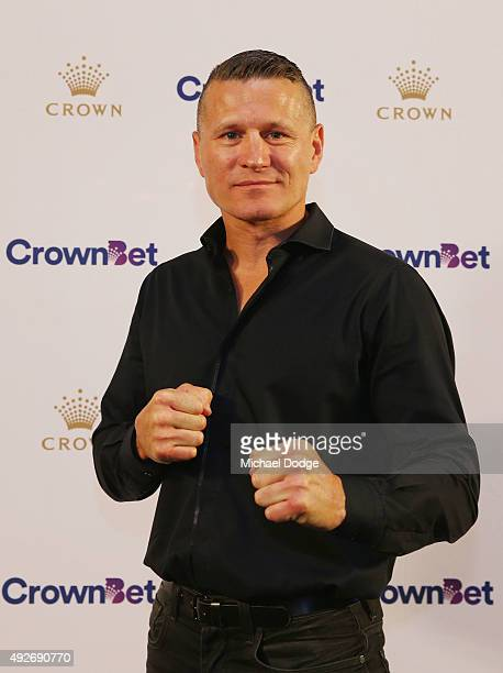 Danny Green poses during a press conference at Crown Entertainment Complex on October 15 2015 in Melbourne Australia