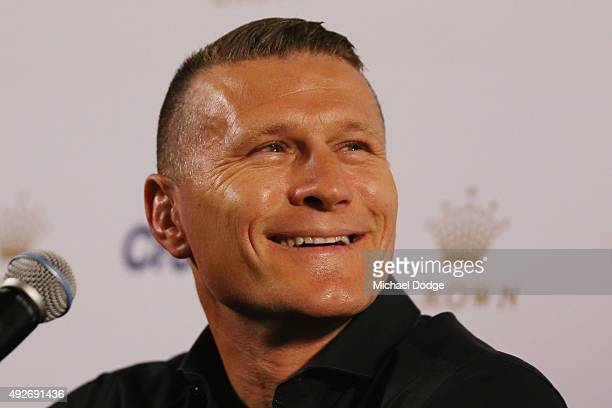 Danny Green reacts during a press conference at Crown Entertainment Complex on October 15 2015 in Melbourne Australia