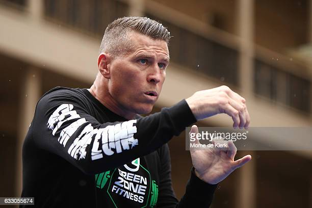 Danny Green shadowboxes during a Public Workout ahead of the Anthony Mundine and Danny Green fight night on January 30 2017 in Adelaide Australia