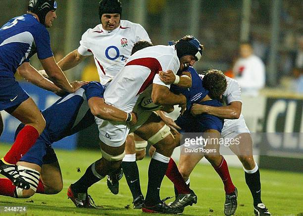 Danny Grewcock of England breaks his way throught the french defence during the Rugby Union International match on August 30 between France and...