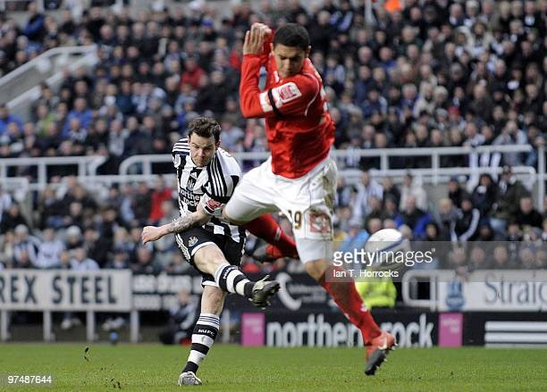 Danny Guthrie of NewcastleUnited scoring the third goal during the CocaCola championship match between Newcastle United and Barnsley at St James'...