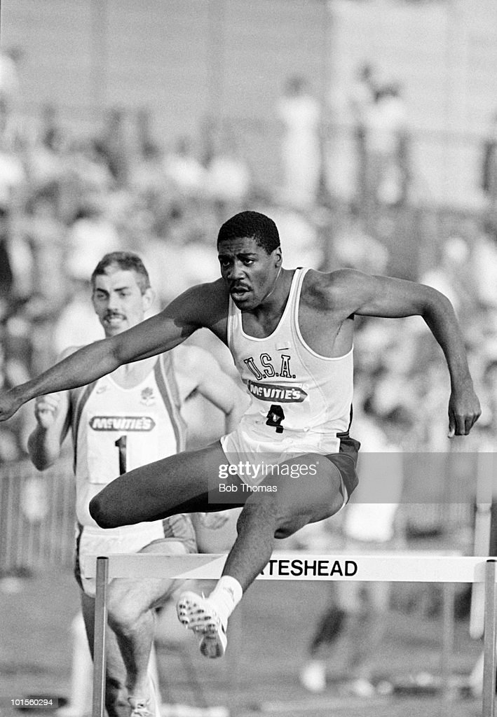 Danny Harris of the USA running in an Athletics competition in Gateshead in July 1986. (Bob Thomas/Getty Images).