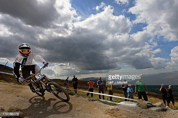 Danny Hart of Great Britain competes in the men's downhill qualifying round at the UCI Mountain Bike World Cup on June 8 2013 in Fort William Scotland