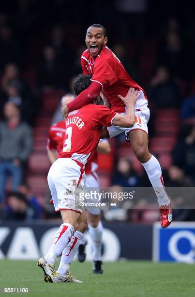 Danny Haynes of Bristol celebrates scoring their first goal during the CocaCola Championship match between Bristol City and Preston North End at...