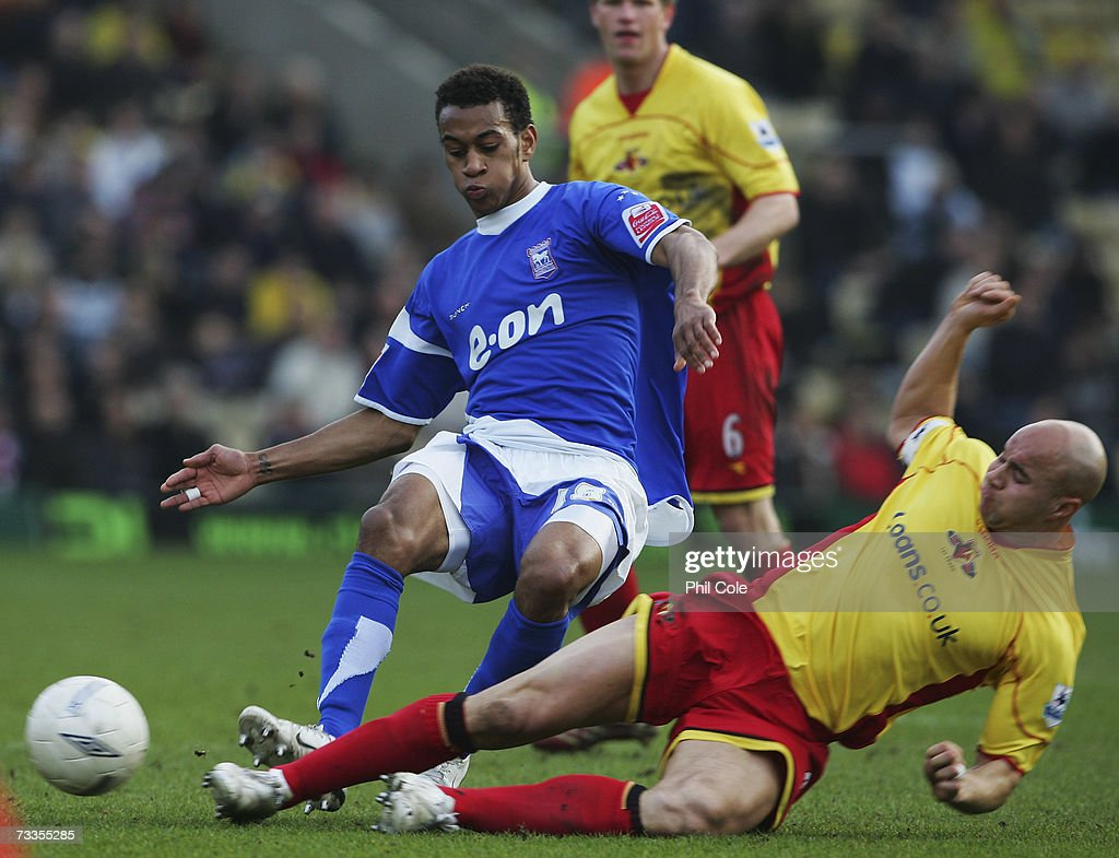 Danny Haynes of Ipswich Town is tackled by Gavin Mahon of Watford during the FA Cup sponsored by E.ON 5th Round match between Watford and Ipswich Town at Vicarage Road on February 17, 2007 in Watford, England.