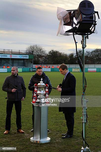 Danny Higginbotham Chris Waddle and BBC presenter Dan Walker with the FA Cup Trophy before the FA Cup third round match between Blyth Spartans and...