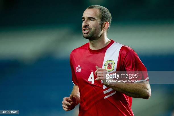 Danny Higginbotham of Gibraltar in action during the international friendly match between Gibraltar and Slovakia at Estadio do Alagarve on November...