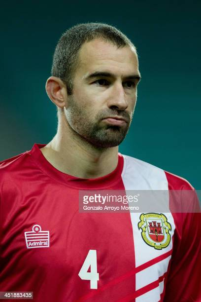 Danny Higginbotham of Gibraltar looks on prior to start the international friendly match between Gibraltar and Slovakia at Estadio do Alagarve on...